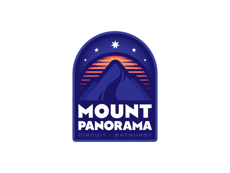 Mt. Panorama Circuit Badge Logo badge logo badge motorsport race logo type cool flat graphicdesign color illustrator illustration vector design