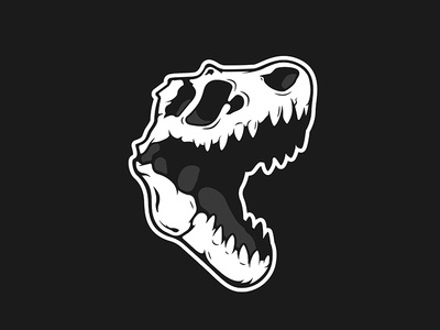 Trex DinoSkulls Series illustration illustrator black and white design vector fossil nature bones skull dinosaur