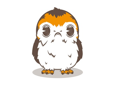 May the Porg be with you character flat illustrator illustration graphicdesign design vector film retro geek scifi starwars