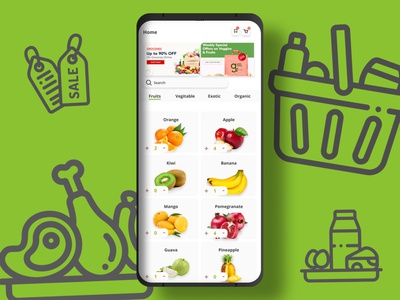 E-Commerce Shop | Daily UI Challenge 013 art ux branding flat minimal app ui shopping green fruits vegitable grocery store groceries design dailyuichallenge dailyui daily 100 challenge