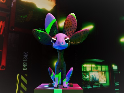 NVIDIA Studio Unofficial Mascot 3d art neon cyber cyberpunk mascot design nvidia arnold maya 3d 3d mascot design