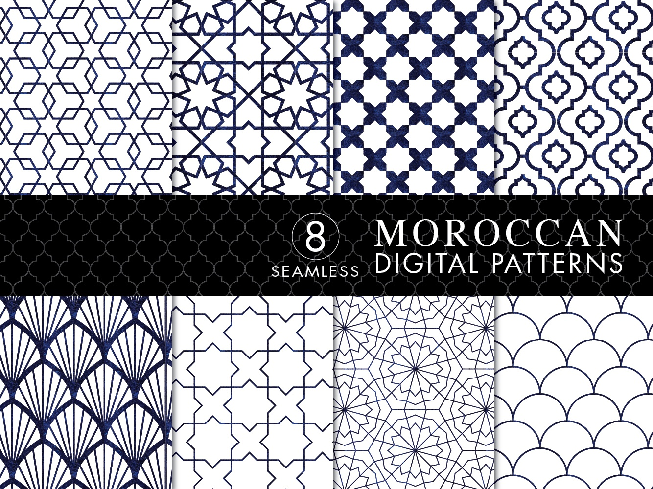 8 Seamless Moroccan Patterns - White & Blue Watercolor Set 1