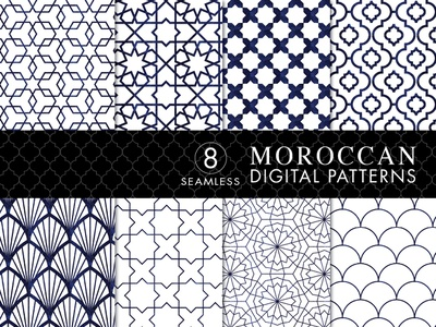 8 Seamless Moroccan Patterns - White & Blue Watercolor Set 1 design bundles designbundles.net vector patterns patterns pattern design pattern