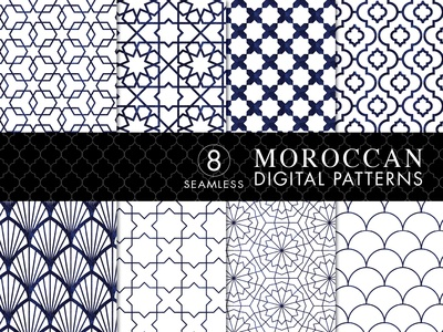 8 Seamless Moroccan Patterns - White & Blue Watercolor Set 1
