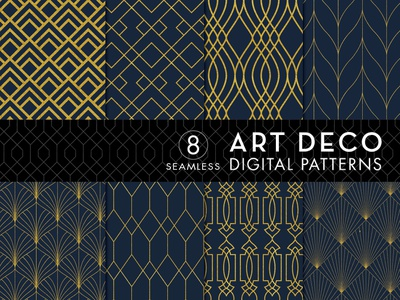 8 Seamless Art Deco Patterns - Gold & Navy Blue - Set 1 design bundles designbundles.net vector patterns art deco pattern patterns