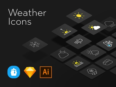 Weather Icons dust drizzle tornado hail storm thunderstorm snow fog rain breezy sunset hot sunrise sunny blizzard linecloudy outlines solid icon weather