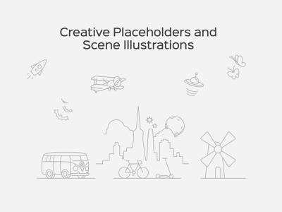 Creative Placeholders and Scene Illustrations e-commerce app ux ui abstract illustration 404 page 404 scene placeholders illustration