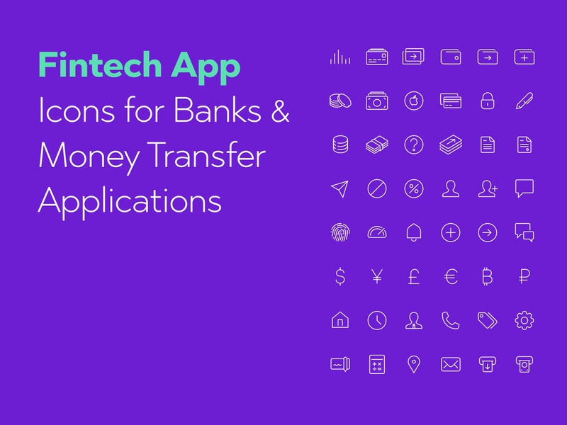 Fintech Apps Icons Set by likeapples on Dribbble