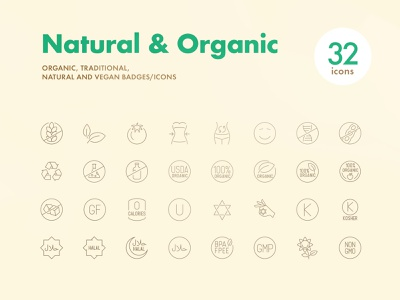 Natural & Organic Icons stroke icons outline diet natural icons
