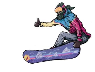 Dude is on board snowboarding procreate app illustration
