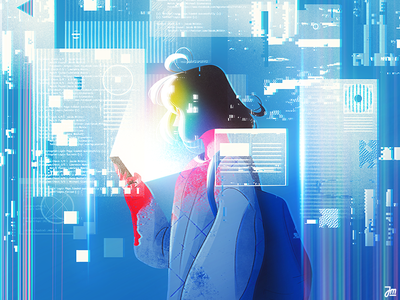 Hacker phone computer glitch ui portrait design girl woman eyes people face character design character illustration