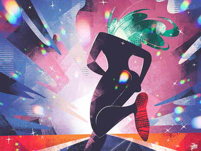 Running away hair rainbow head girl clouds colorful stars design woman editorial character design character