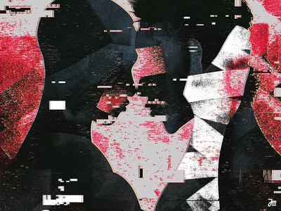 Glitchy love abstract kiss gay queer couple people design glitch love man face character design character illustration