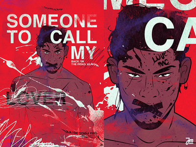 Somebody to call my lover - poster type typography abstract muscle portrait hair eyes design face man character design vector character illustration