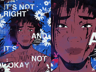 It's not right and it's not okay typography flowers branding eyes hair people girl woman poster design poster face character design character illustration