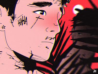 Lurking cartoon 2d animation flower vector hair eyes people design face man character design character illustration