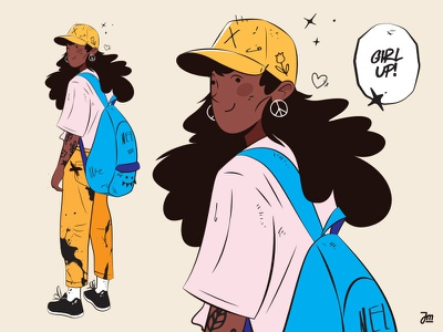 Character design - a student. tatoos portrait student eyes hair woman girl design face man vector character design character illustration