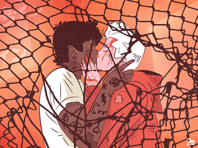 The kiss portrait peoplem queer men kiss love couple vector design face man character design character illustration