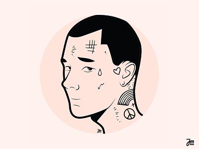 New face logo flat tatoos tatoo profile picture avatar portrait character design face man vector character design illustration