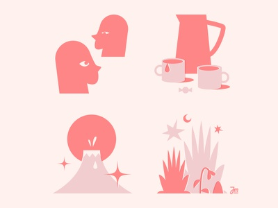 One night stand plant portrait people men icons icon riso logo design face man character design character illustration