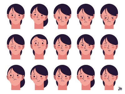 Faces illustration graphic design design jealous shocked scared profile avatar woman girl faces face head heads facial expression character character design happy sad angry