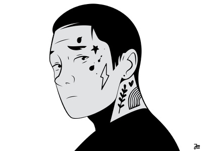 Profile pic zoom profile picture profile tatoos tatoo person men faces hair eye eyes avatar portrait design vector man face character design character illustration