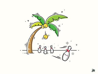 Strike! funny cartoon illustration sport ball bowling tree palmtree vector