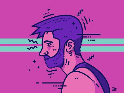 A bearded guy handsome vector portrait profile guy man illustration person beard