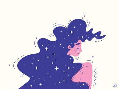 Cry me a star vector tear cry illustration character lady hair stars woman girl