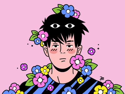 Selfportrait... kinda sad eyes quirky flowers character design flat vector man person illustration portrait selfportrait