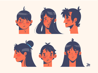 Heads up women boy girl man head hair face person people character design heads