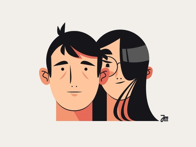 Couple #3 women person people profile man heads head hair girl face character design boy