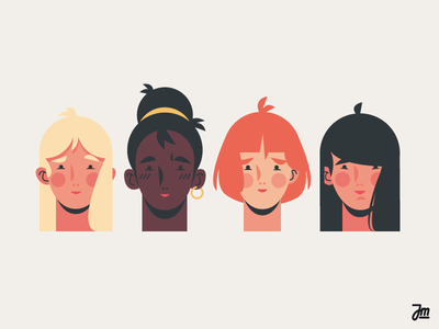Heads or tails? Heads. asian avatar redhead diversity women people heads head hair girl face character design