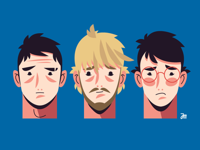 Off with their heads! boy face heads people head man flat hair character design character illustration