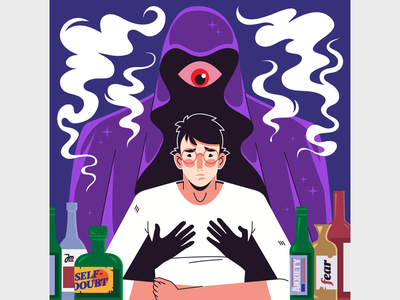 When fear is near monster ghost eyes smoke bottles anxiety fear character design vector character flat illustration
