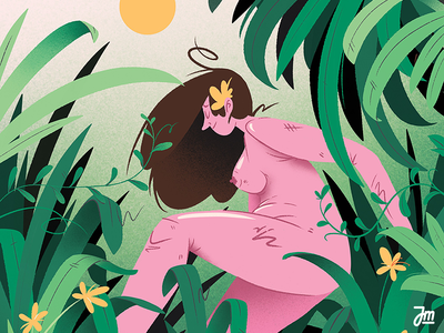 Don't get lost. body character art hair forest flowers plants jugnle illustration character girl women woman