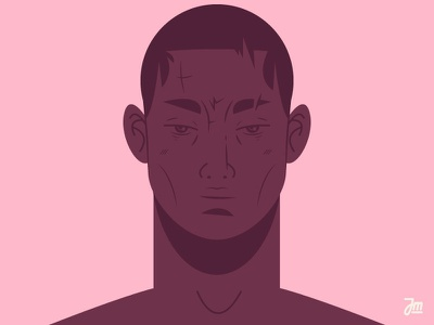 A tough guy. eyes vector face character head dark diversity black illustration men man character design