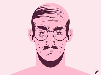 Grandpa. portrait hairy pink glasses flat moustache hair face character man character design illustration