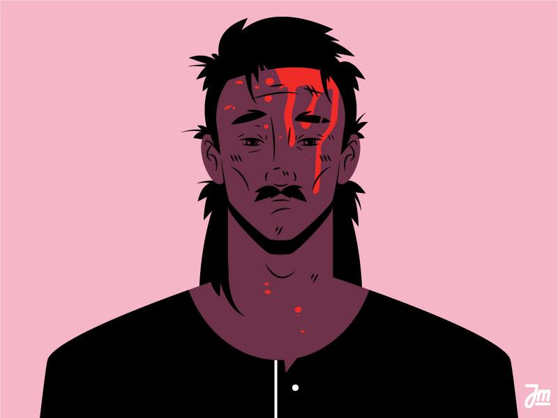 Hit avatar website illustration hair portrait art portrait face male moustache blood man character design