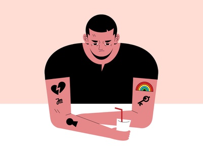 Let's drink vector tattoo rainbow queer pride people man illustration face character design character boy