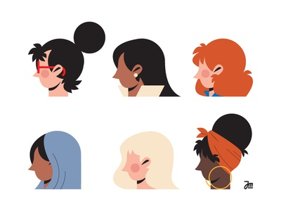 Women faces face avatar head character character design woman portrait girls girl illustration women woman