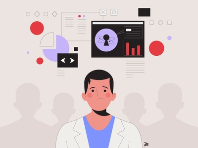 The doc. vector doctor face character people scientist man data analytics web character design illustration