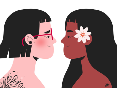 Staring contest queer head girls girl woman portrait face faces women woman character design character illustration