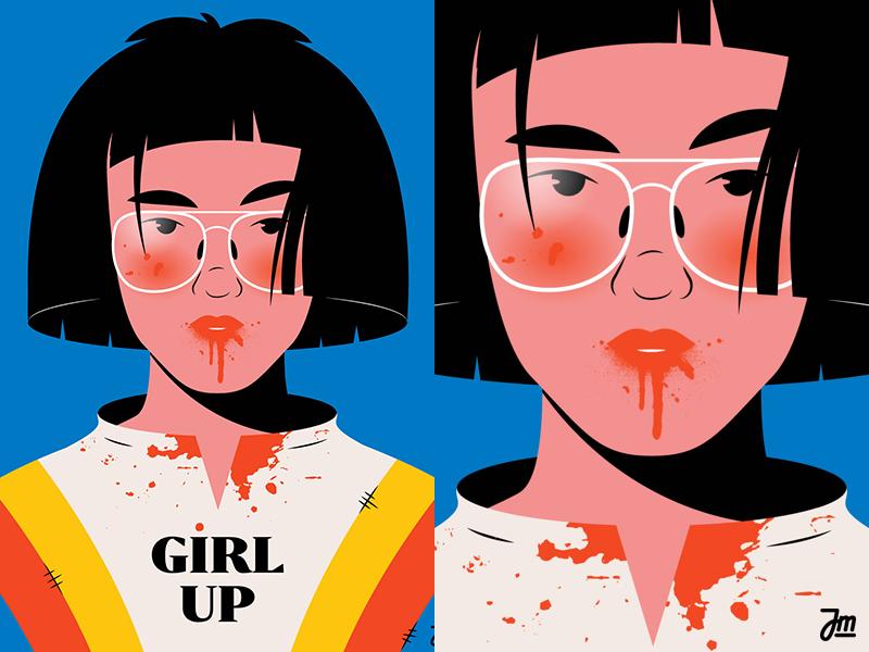 Girl up! design asian lady fashion head portrait women girls girl woman hair face character design character