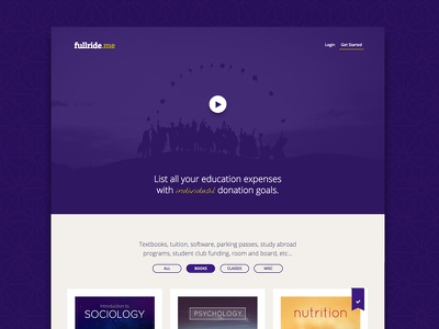 fullride.me Relaunch/Redesign video filter grid hero landing page crowdfunding