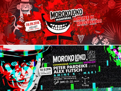 Morokoloko events communication design illustration nightlife event branding