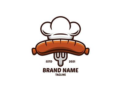 Sausage Chef Logo hot brand fork chef meat cow sausage retail cafe restaurant food illustration exclusive vector logo branding design