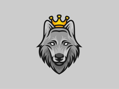 King Wolf Logo cartoon mascot grey pride royal crown king life wild front face head wolf animal illustration exclusive vector logo branding design