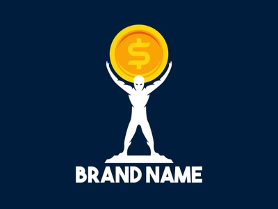 Atlas Coin Logo greek finance accounting bank man people hold front silhouette god money gold coin atlas illustration exclusive vector logo branding design