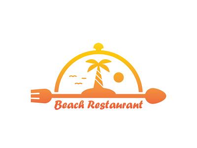 Beach Restaurant Logo fork spoon sunset tree coconut island modern cafe sea sun restaurant food beach illustration exclusive vector logo branding design